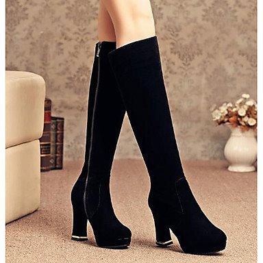 GLL&xuezi Damen Stiefel Komfort Modische Stiefel Echtes Leder PU Winter Normal Schwarz Flach black
