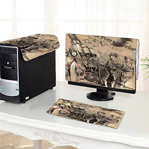 Jiahonghome Computer dust Cover War Siers Stand Before Howitzer Courage in Warfare Scenery from Battle Black dust Cover 3 Pieces Set /17
