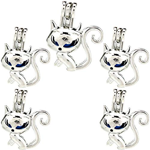 K909 (5 Pack) Silver Cute Fox Lady Beads Cage Oil Diffuser Pearl Locket Pendant - Silver 9mm Cute Leaf Charms