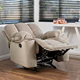 Raymond Latte Beige Fabric Glider Recliner Club Chair