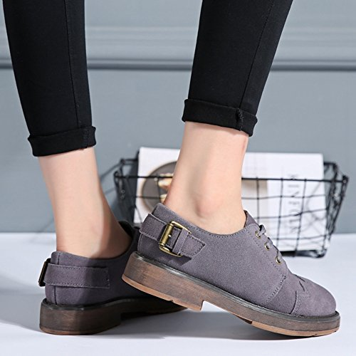 Gray Women's Comfortable Wedge Oxfords Shoes JULY Round Classic Fashion Suede Low Shoes Toe T 4q5Owg