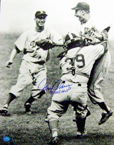 Brooklyn Dodgers 1955 World Series Celebration photo autographed by Johnny Podres MVP 11x14 - 1955 World Series Mvp