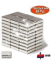 HPLQM Aimants Néodymes, Bukm 10x10x3 mm Premium Extrêmement Puissant aimants 30 Pcs Idéale pour Réfrigérateur,Surfaces Magnétiques,Tableau Blanc Interactif