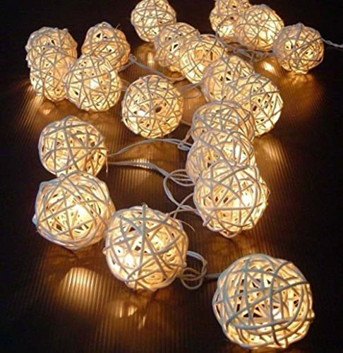 - Iulove 5M 16FT Warm White Rattan Ball LED String Christmas Wedding Fairy Lights with 20 LED