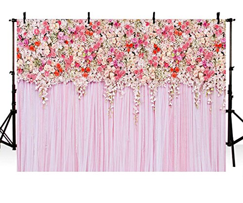 COMOPHOTO Birthday Party Floral Wall Backdrop Wedding Flower Decor Art Photography Background 7x5ft Vinyl Fabric Print Valentine's Day Photo Backdrops for Pictures ()