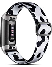 Dirrelo Elastische band, compatibel met Fitbit Charge 3 Strap/Fitbit Charge 4 Strap, zacht verstelbare elastische vervanging met stijlvol patroon, nylon geweven sportarmband voor dames en heren