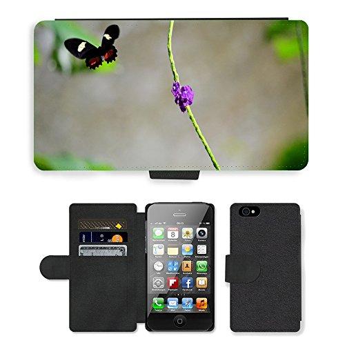 Just Phone Cases PU Leather Flip Custodia Protettiva Case Cover per // M00127594 Nature Fleur de papillon Beauté Vert // Apple iPhone 4 4S 4G