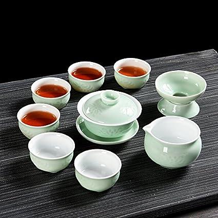 CUPWENH Horno Troquelados Celadon Conjunto De Kung Fu Juegos De Té De Té Home Inicia Rakuyaki