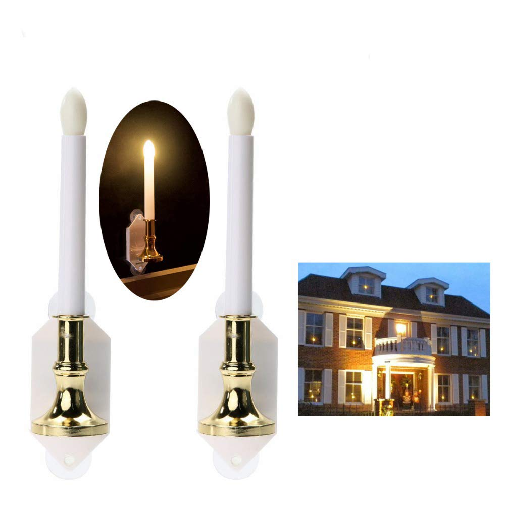 Flameless Candles Flickering Festival Lights Solar Powder Pack 2,Led Electric Candle for Windows with Suctions,Gardern Candle Light for Halloween,Thanksgiving,Christmas