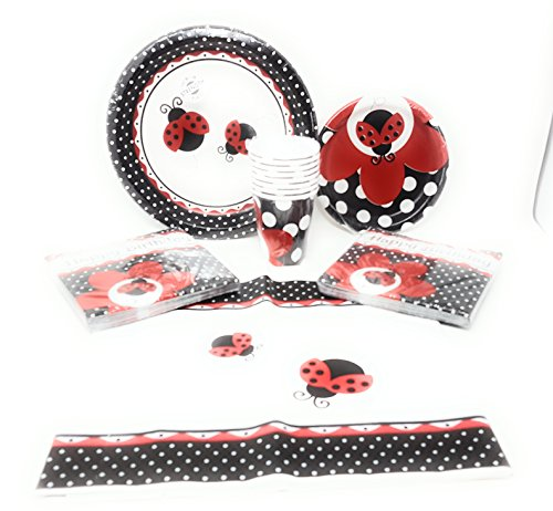 Ladybug Fancy Birthday Party Supplies (Disposable Plates, Napkins, Cups,Tablecloth) 6-Piece Bundle
