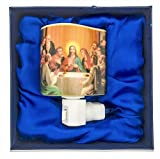 Porcelain Night Light with Traditional Catholic Art (Last Supper)