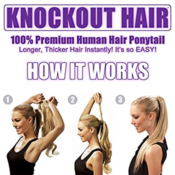 "Human Hair Ponytail Extension Wrap 20"" Real Remy Premium Grade Aaaaa 80 Grams Long Straight Human Hair Silky Soft By Knockout Hair (#0203 Dark Brownmedium Golden Brown Mix) 2"