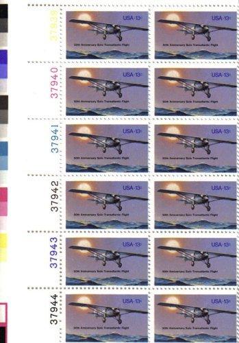 1977 LINDBERGH FLIGHT - SOLO TRANSATLANTIC ~ SPIRIT OF ST LOUIS #1710 Plate Block of 12 x 13¢ US Postage Stamps