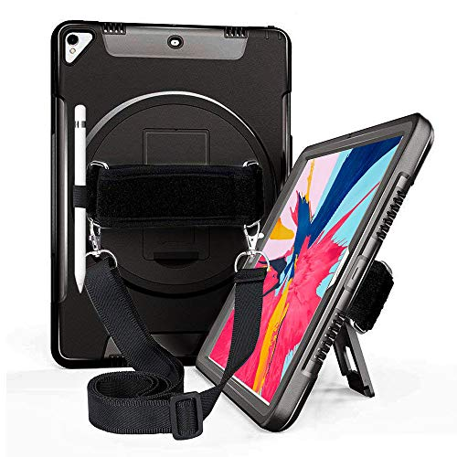 iPad Air 3rd Generation 10.5'' 2019 Case, Apple Tablet iPad Pro 10.5 2017 Cover, Hybrid Soft Silicone Case with Screen Protector Pencil Holder 360 Degree Stand, Handle Hand Grip Shoulder Strap Black