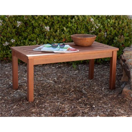 Patio Coffee Table in Dark Oiled Brown, Quick-Drying Hardwood Construction, Weather Resistant Hardwoods, Indonesian Hardwoods Offer Elegance, Durability, and Resistance to the Elements (Drying Coffee Patio)