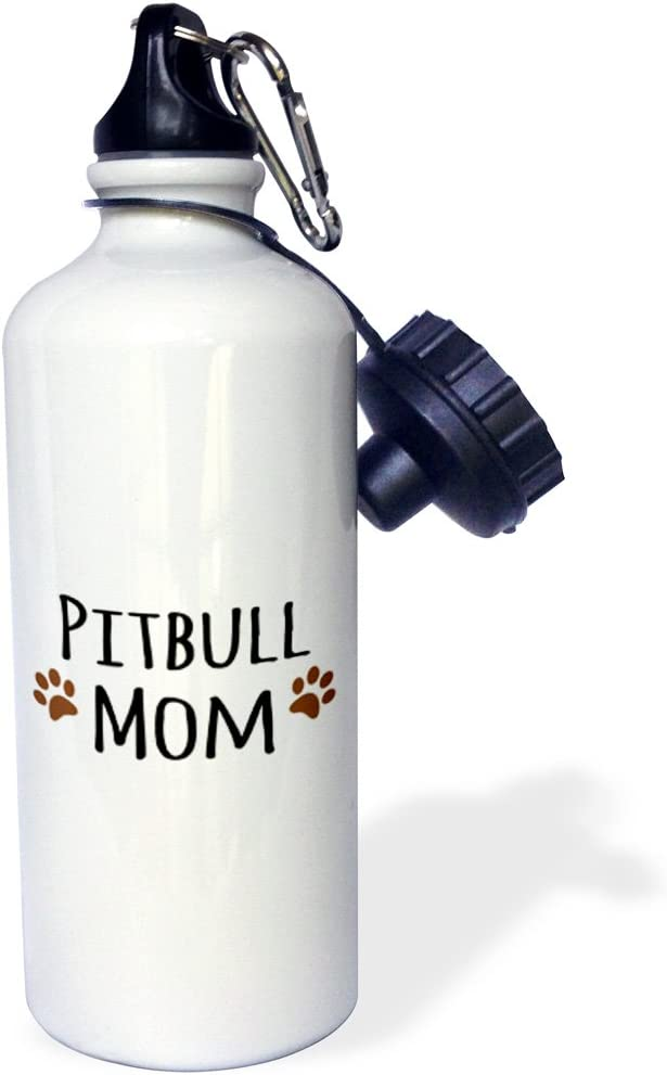 White 3dRose wb/_154172/_1 Pitbull Dog Mom-Doggie By Breed-Muddy Brown Paw Prints-Doggy Lover-Proud Pet Owner Mama Love Sports Water Bottle 21 oz
