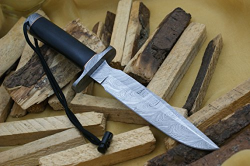 Knife King Premium Model 1 Custom Damascus Hunting Knife Black Micarta Handle