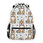 Backpack Shiba Inu Unicorn Stars Pattern Canvas School Bags Laptop Daypack