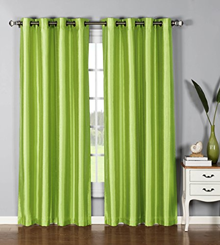 Window Elements Jane Faux Silk Grommet Extra Wide 54 x 95 in. Curtain Panel, Lime (Window Covering Ideas)