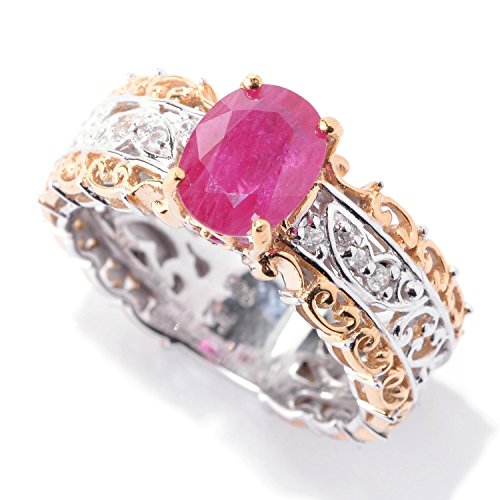 Michael Valitutti Palladium Silver Ruby & White Sapphire Scrollwork (Vogue Ruby Ring)