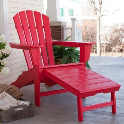 ! POLYWOOD Recycled Plastic Big Daddy Adirondack Chair with Pull-out Ottoman ()