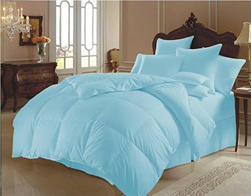 Ten Piece Super Soft Quilt Goose Down Comforter 300 GSM 500 Thread Count with Duvet Set and Sheet Set 100% Egyptian Cotton Solid Cal King , Sky Blue by Sao's Silvalinen
