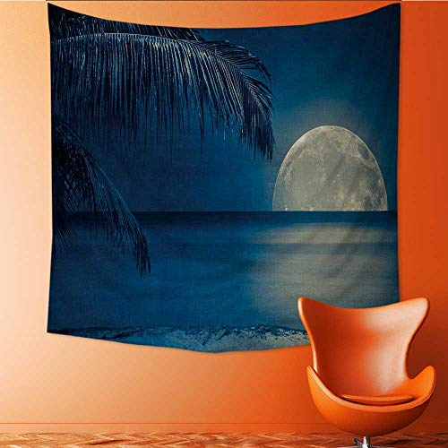 UHOO2018 Wall Hanging Tapestries Beautiful Full Moon Reflected on The Calm Water of a Tropical Beach Toned inblue Large tablecloths 47W x 47L Inch