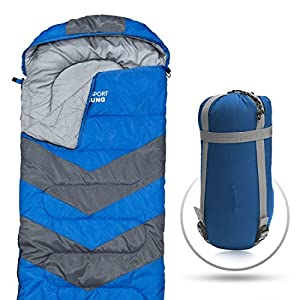 Abco Tech Sleeping Bag - Envelope Lightweight Portable, Waterproof, Comfort with Compression Sack - Great for 4 Season Traveling, Camping, Hiking, Outdoor Activities & Boys. (Single) 2