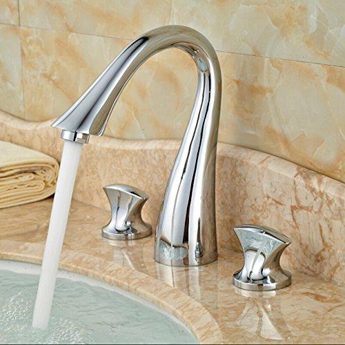 5151buyworld Top Qualität Wasserhahn Luxus Messing Mixer Wasserhahn Doppel-Griff 3 Loch Waschbecken Wasserhähne Chrom finishfor Badezimmer Küche Home Gaden (begriffsklärung), chrom,