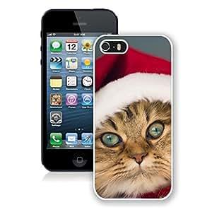 Customized Portfolio Big Blue Eys Christmas Cat Iphone 5s Case,Phone Case For Iphone 5,Iphone 5 White TPU Cover