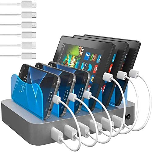 Hercules Tuff Charging Station for Multiple Devices (Silver) - 3 Short Type-C and 3 Short Micro USB Cables Included for Cell Phones, Smart Phones, Tablets, and Other Electronics