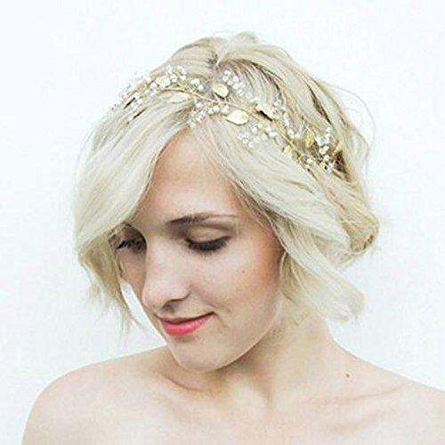 Yean Pearl Wedding Headband Leaf Bridal Headpiece Gold Halo Wedding Hair Vine for Women and Girls