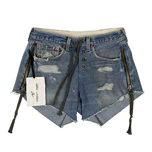 Greg Lauren Blue Vintage Denim Zipper Lounge Shorts Jeans Pants