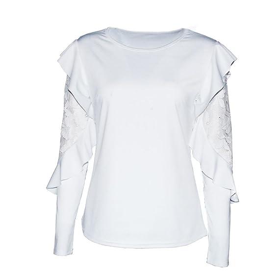 Naturazy Color SóLido Camiseta De Manga Larga con Cuello En V De Manga Larga para Mujer