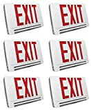 6 PACK Single/Double Face Lightpipe LED Red White Exit Sign & Emergency LED Combo with Battery Backup (Red/White)