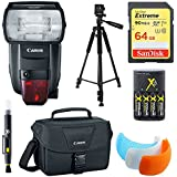 Canon 600EX II-RT Speedlite Flash, 64GB Card, Bag, and Accessories Bundle - Includes Flash, 64GB Memory Card, Carrying Case, Flash Cover, Charger with Batteries, Tripod, and Cleaning Pen