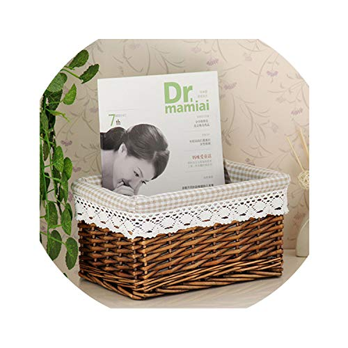 Pretty Natural Small Large Wicker Storage Basket with Natural Cotton Hemp Lining, White,Coffice,Brown for Choice,Colour2 S