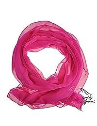 Classic Plain Chiffon Scarf Silk Feel Soft Neck lady Shawl Hijab Scarves -Fucshia