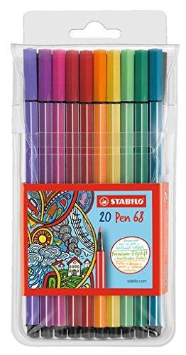 Pen Assorted Wallet (STABILO Pen 68, Fibre Tip Wallet of 20 assorted colours)