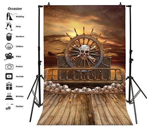Leyiyi Pirate Ship Backdrop 6x9ft Photography Background Horrible Skull Vintage Wooden Rudder Horrible Sky Children Brave Boy Cool Adult Portraits Studio Props Pirate Theme Party -