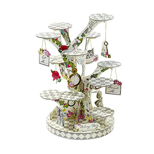 Talking Tables TSALICE-TREATSTAND Alice In Wonderland Cupcake Stand Centerpiece Mad Hatter Tea Party, Treat, Mixed -