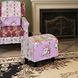 Patchwork Footstool Floral Style Ottoman Living Room Recliner 20.9'' x 15.7'' x 15.4''