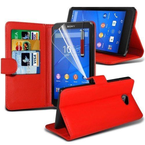 Sony Xperia E4 Cubierta del caso con cuero (Rojo) Plus de regalo libre, Protector de pantalla y un lápiz óptico, Solicitar ahora mejor caja del teléfono Valorado en Amazon! By FinestPhoneCases