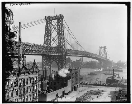 Infinite Photographs Photo Williamsburg Bridge,Buildings,Rivers,Boats,Ships,Water Travel,New York,NY,1903