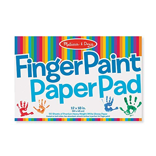 """Melissa & Doug Finger-Paint Paper Pad, 12"""" x 18"""" (Arts & Crafts, Top-Bound Pad, Glossy Paper, Nonabsorbent, 50 - Toys Year For One Art Old"""