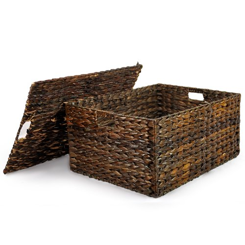 Basket Storage Maize Natural (The Lucky Clover Trading Mahogany Maize Storage Basket with Removable Lid)