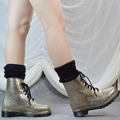 Nieve LvRao de con Lluvia Calcetines Impermeables Tacón Botas Mujeres con Cordones Oro para Boots Alto Zapatos Calentar w0q0zrAFg