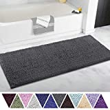 ITSOFT Non-Slip Shaggy Chenille Soft Microfibers Bathroom Rug with Water Absorbent, Machine Washable, 21 x 47 Inch Charcoalgray