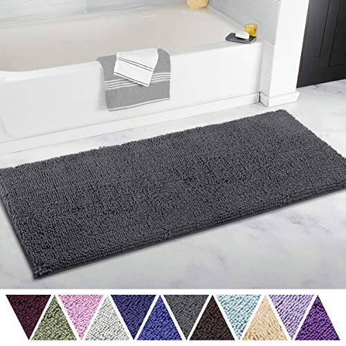 ITSOFT Non Slip Shaggy Chenille Soft Microfibers Bathroom Rug with Water Absorbent, Machine Washable, 21 x 47 Inches Charcoal Gray