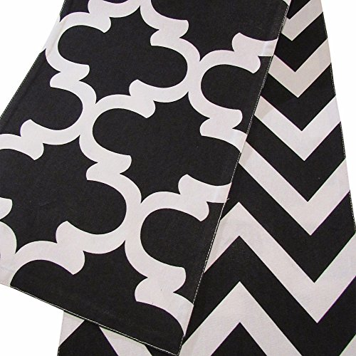 Crabtree Collection Double Sided Table Runner - (12 x 90, Black - Chevron/Trellis) ()